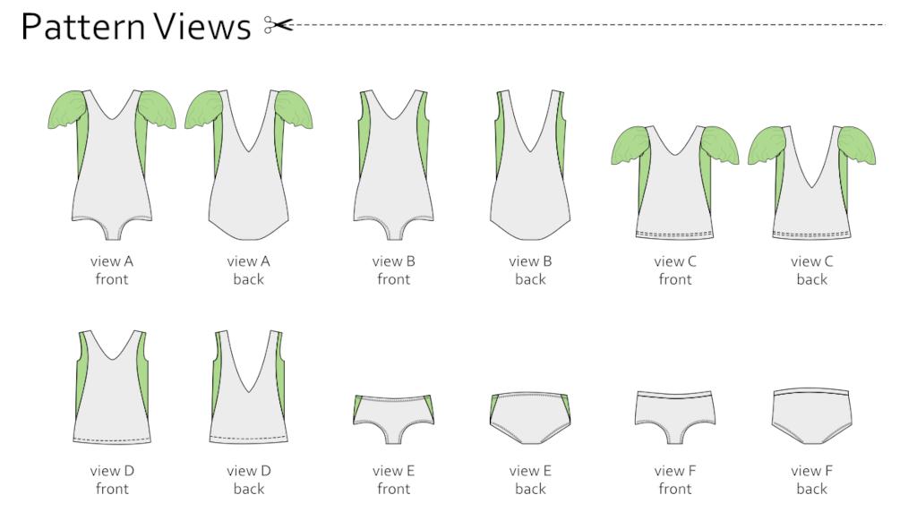 Sorbetto Swim Line Drawings